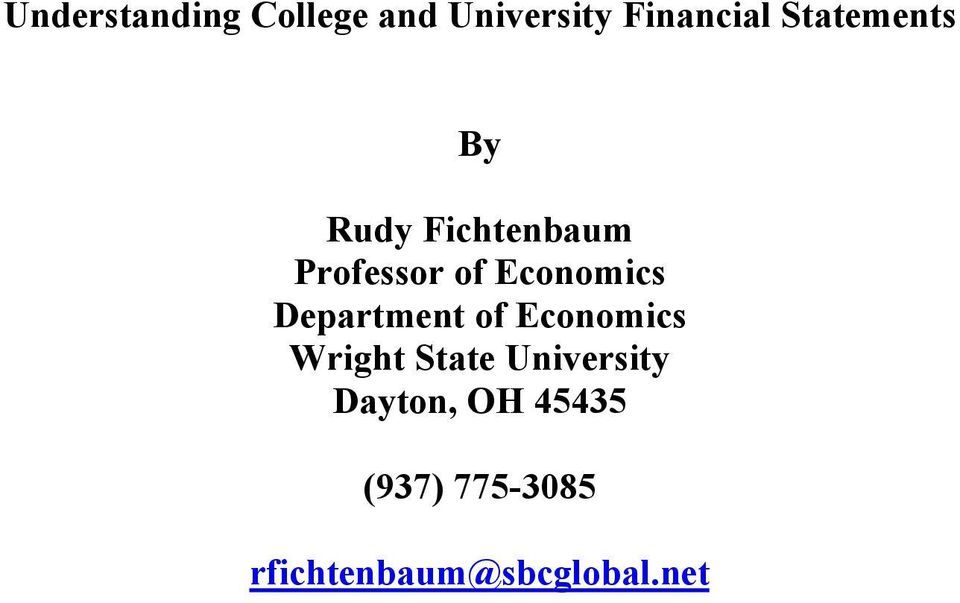 Economics Department of Economics Wright State