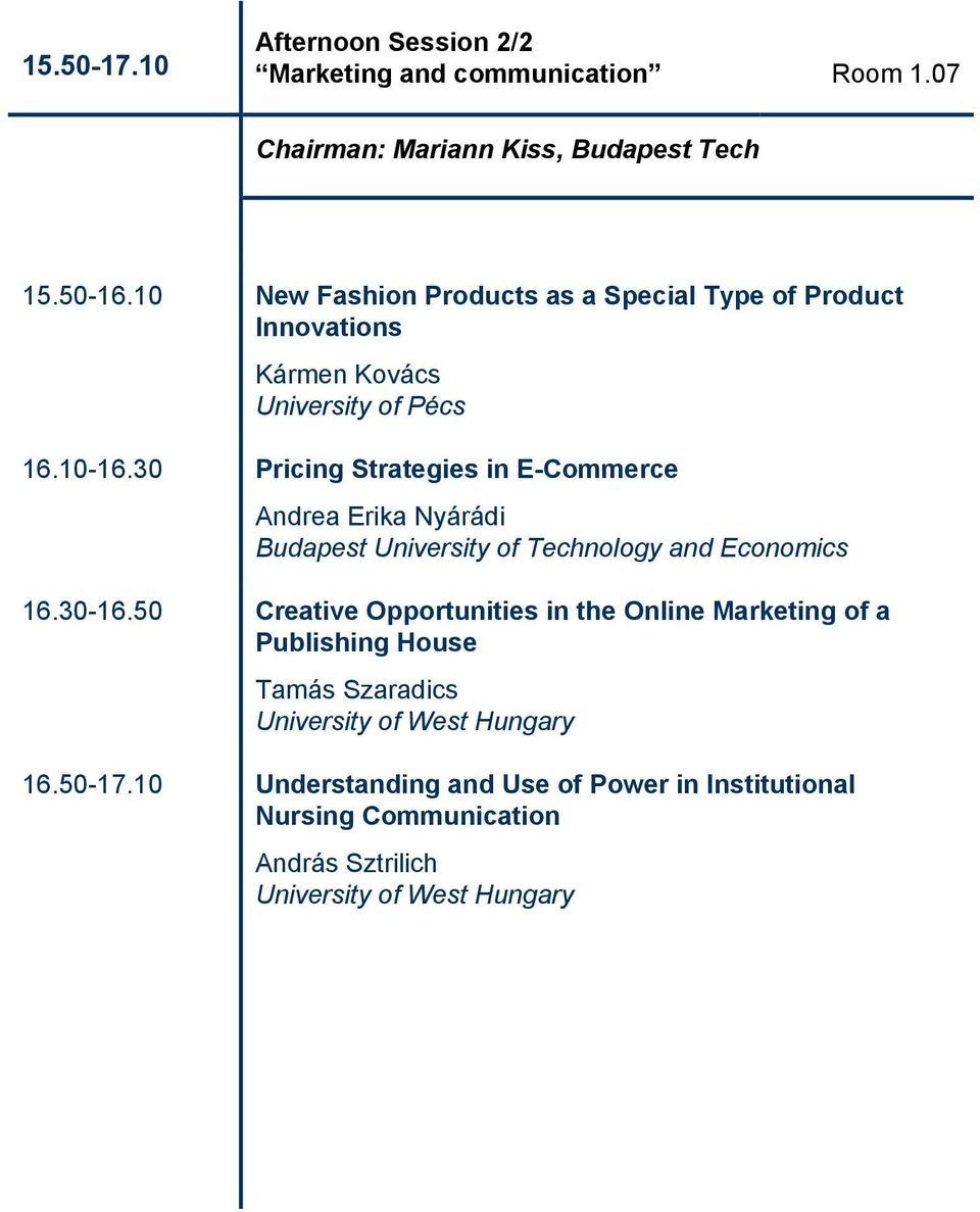 30 Pricing Strategies in E-Commerce Andrea Erika Nyárádi Budapest University of Technology and Economics 16.30-16.