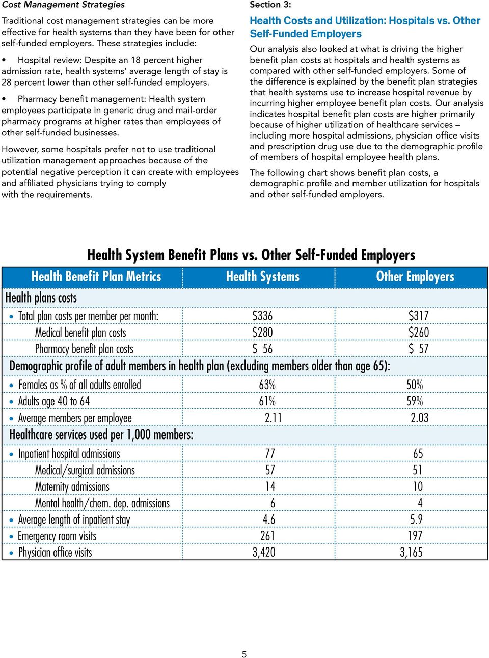 Pharmacy benefit management: Health system employees participate in generic drug and mail-order pharmacy programs at higher rates than employees of other self-funded businesses.