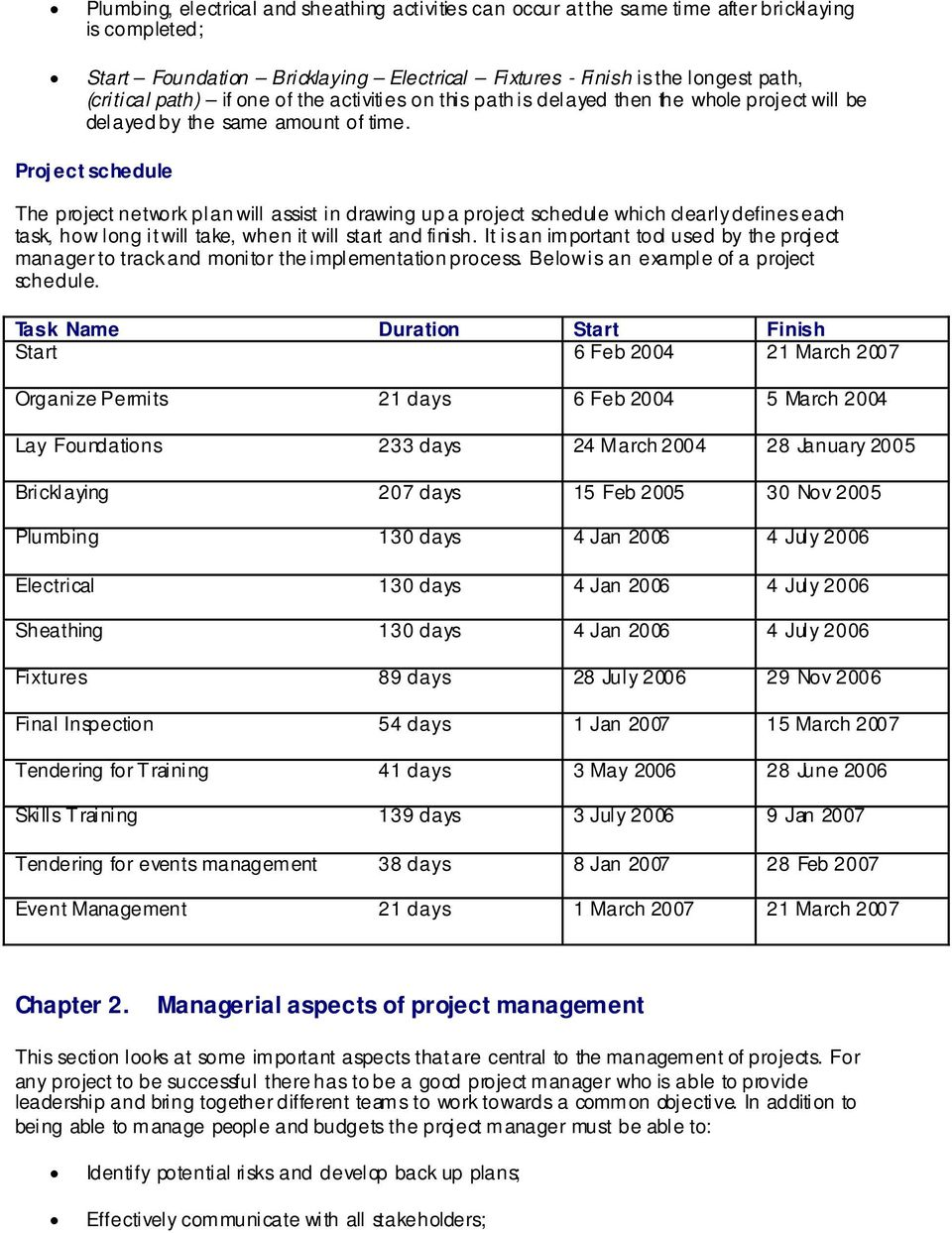 Project schedule The project network plan will assist in drawing up a project schedule which clearly defines each task, how long it will take, when it will start and finish.
