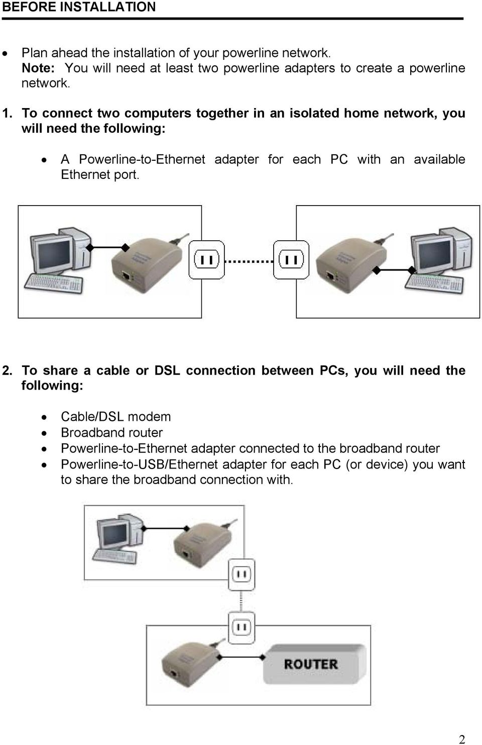 To connect two computers together in an isolated home network, you will need the following: A Powerline-to-Ethernet adapter for each PC with an available
