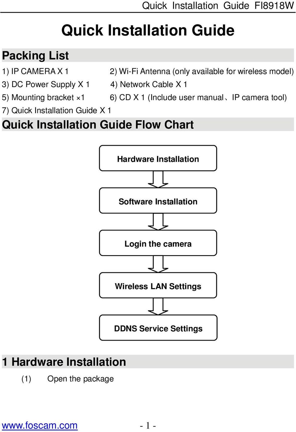 camera tool) 7) Quick Installation Guide X 1 Quick Installation Guide Flow Chart Hardware Installation Software
