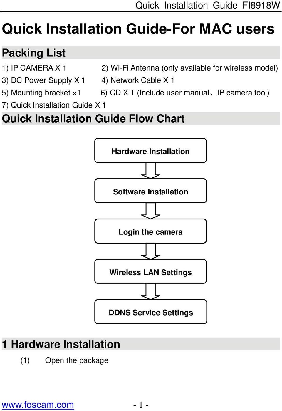 tool) 7) Quick Installation Guide X 1 Quick Installation Guide Flow Chart Hardware Installation Software Installation
