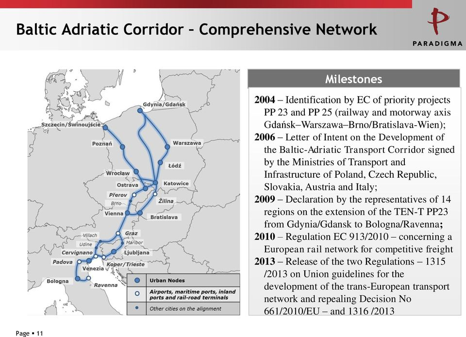 Declaration by the representatives of 14 regions on the extension of the TEN-T PP23 from Gdynia/Gdansk to Bologna/Ravenna; 2010 Regulation EC 913/2010 concerning a European rail network for