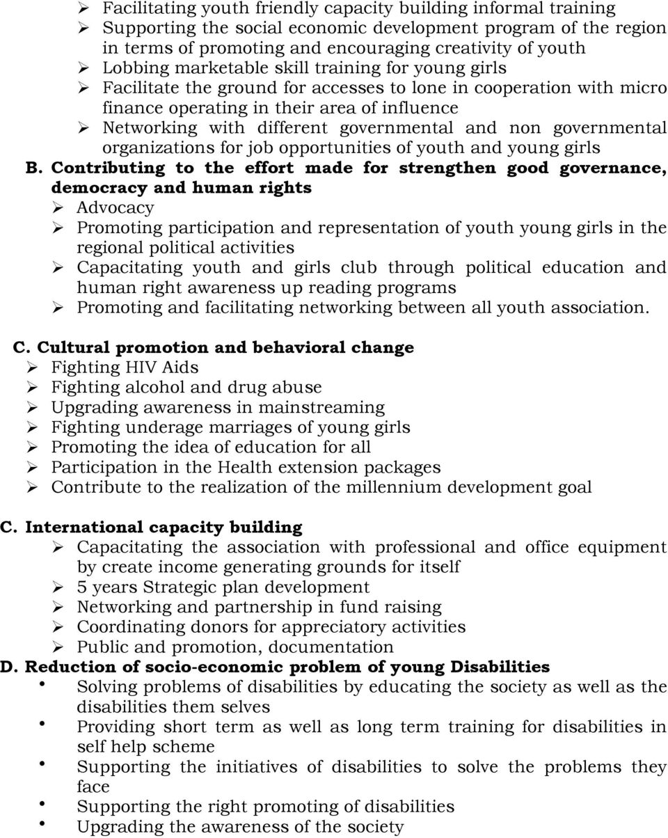 non governmental organizations for job opportunities of youth and young girls B.