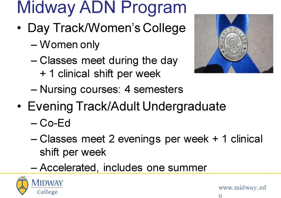 semesters Evening Track/Adlt Undergradate Co-Ed Classes meet 2