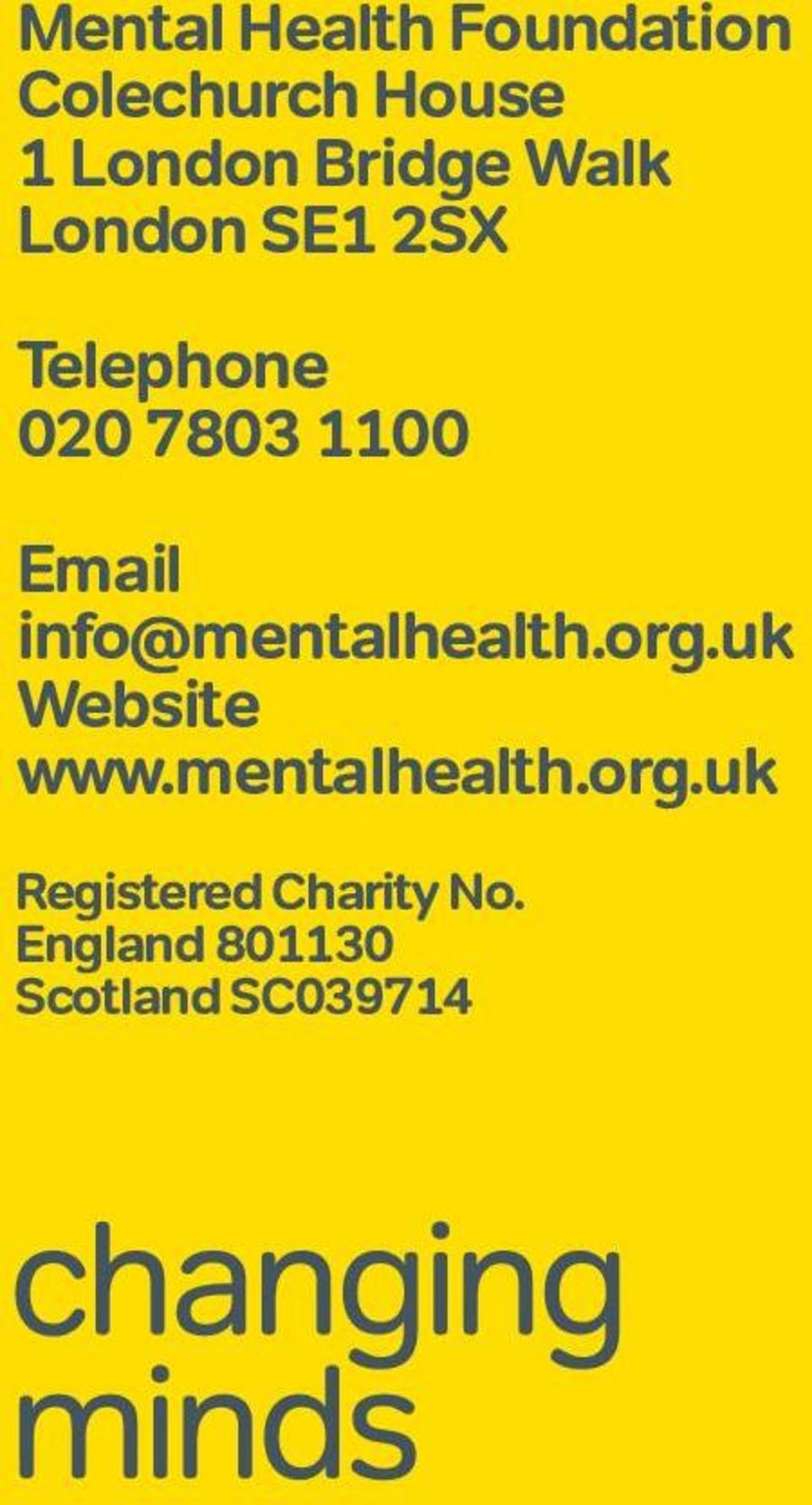 Email info@mentalhealth.org.uk Website www.