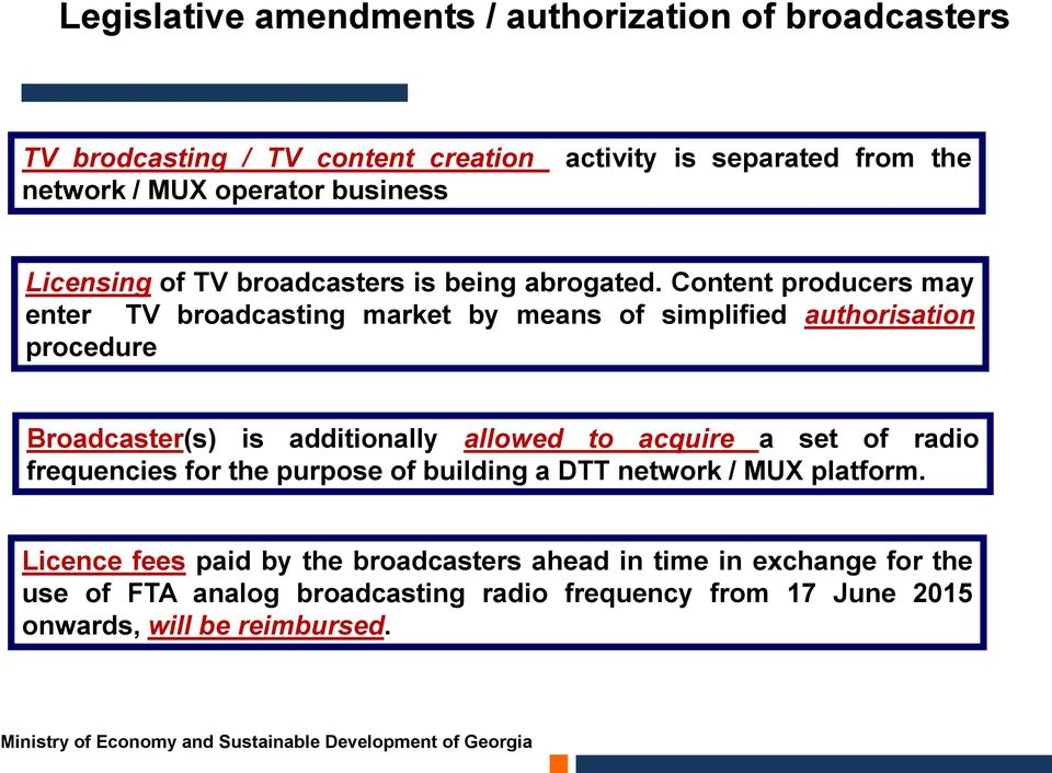 Content producers may enter TV broadcasting market by means of simplified authorisation procedure Broadcaster(s) is additionally allowed to acquire a set