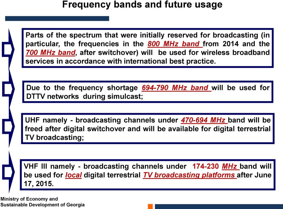 Due to the frequency shortage 694-790 MHz band will be used for DTTV networks during simulcast; UHF namely - broadcasting channels under 470-694 MHz band will be freed after digital