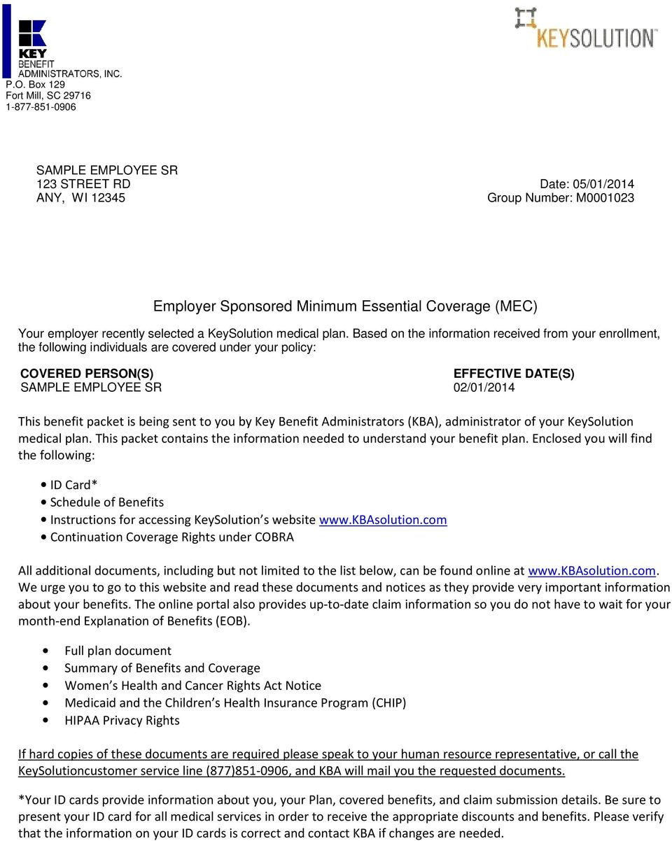 Employer Sponsored Minimum Essential Coverage (MEC) - PDF