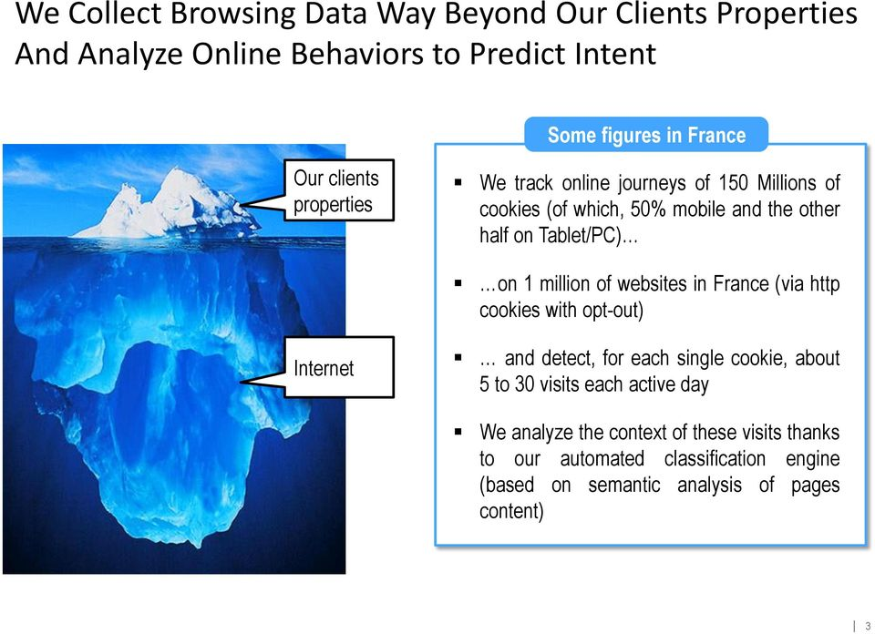 million of websites in France (via http cookies with opt-out) Internet and detect, for each single cookie, about 5 to 30 visits each