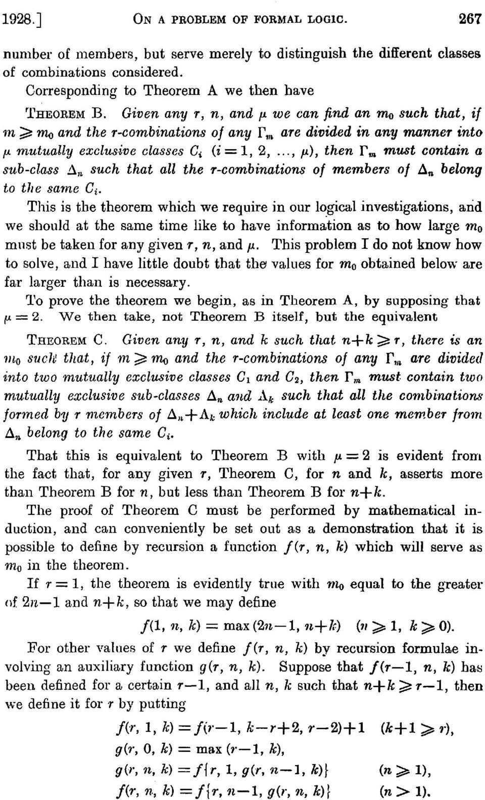 .., /A), then F TO must contain a sub-class A n such that all the r-combinations of members of A n belong to the same C^ This is the theorem which we require in our logical investigations, and we