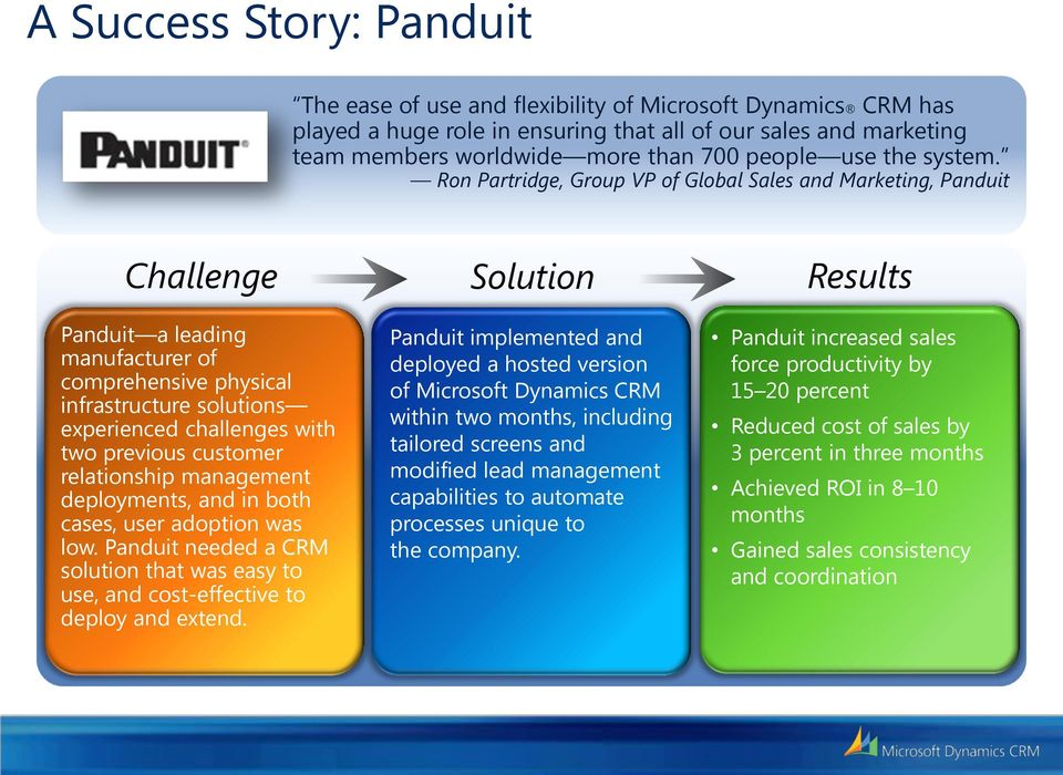 Ron Partridge, Group VP of Global Sales and Marketing, Panduit Challenge Panduit a leading manufacturer of comprehensive physical infrastructure solutions experienced challenges with two previous