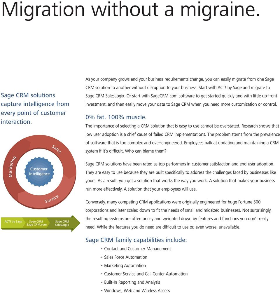 by Sage and migrate to Sage CRM SalesLogix. Or start with SageCRM.