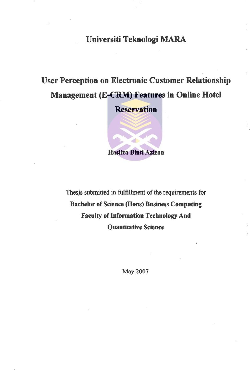 Thesis submitted in fulfillment of the requirements for Bachelor of Science