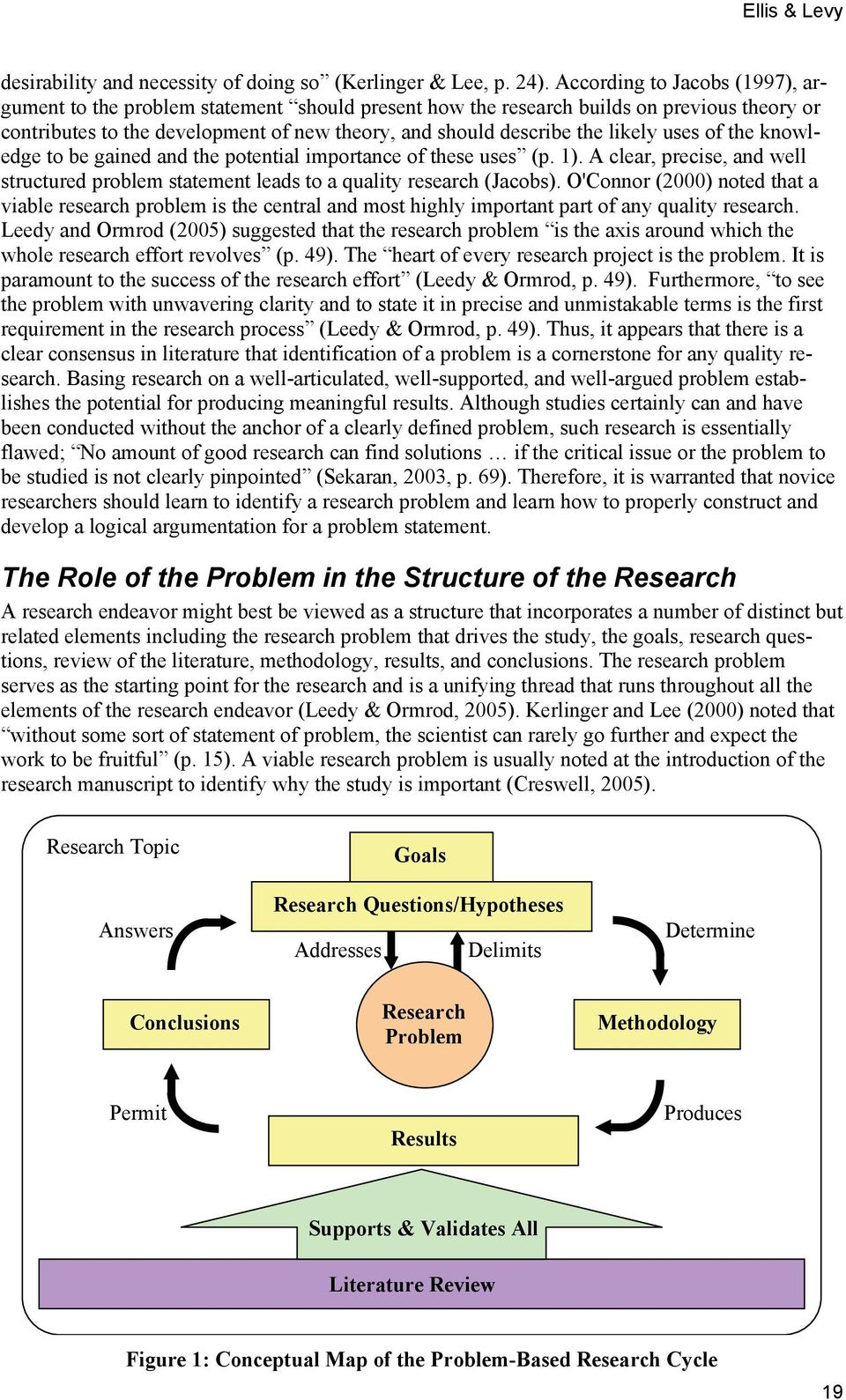 uses of the knowledge to be gained and the potential importance of these uses (p. 1). A clear, precise, and well structured problem statement leads to a quality research (Jacobs).