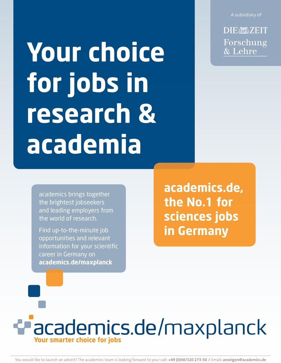 Find up-to-the-minute job opportunities and relevant information for your scientific career in Germany on academics.