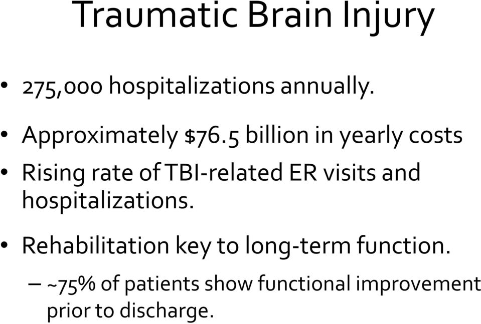 5 billion in yearly costs Rising rate of TBI related ER visits and