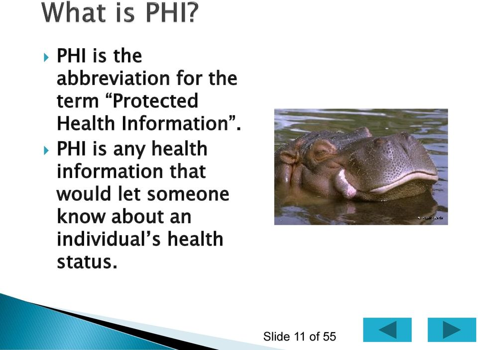 PHI is any health information that would