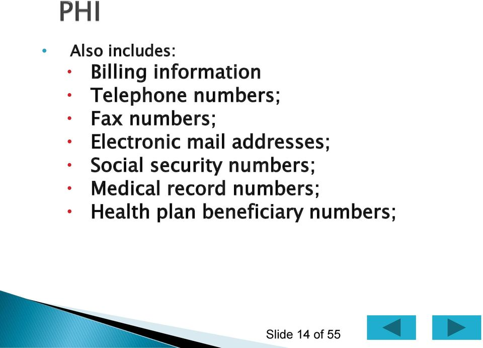 addresses; Social security numbers; Medical