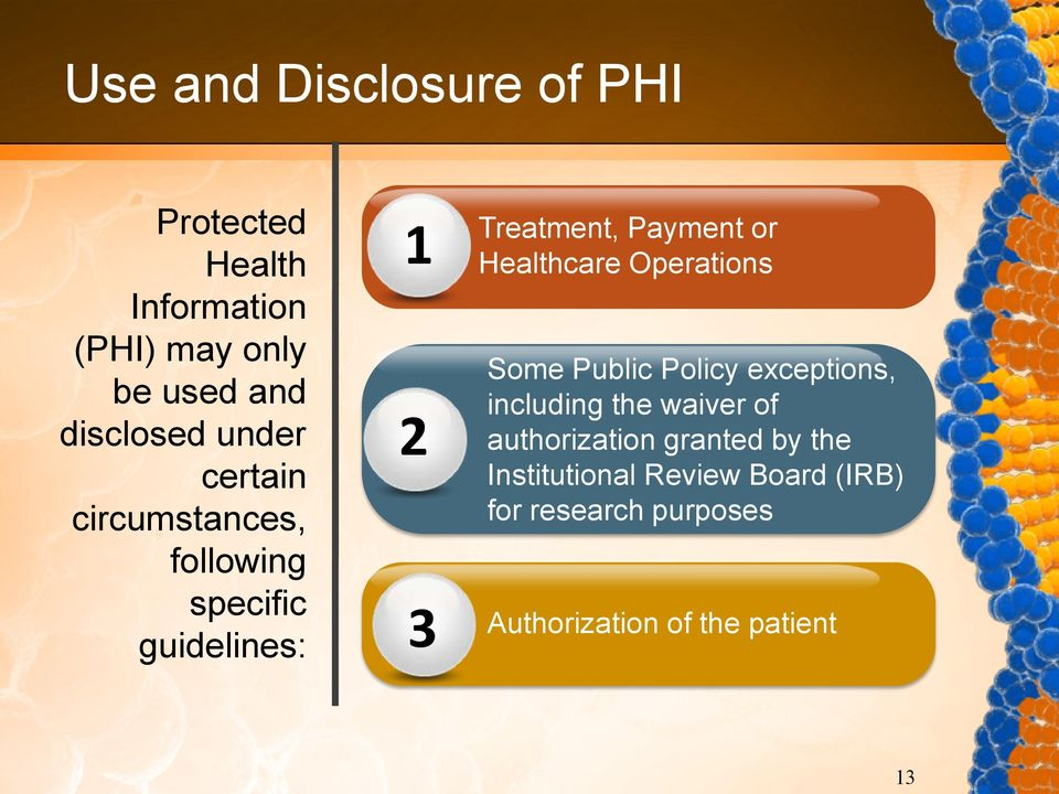 Healthcare Operations Some Public Policy exceptions, including the waiver of authorization