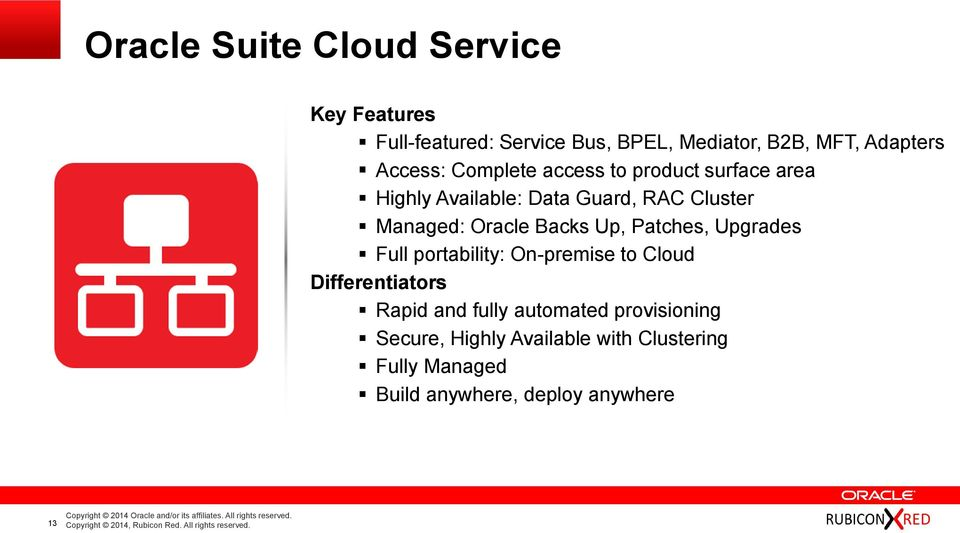 Oracle Backs Up, Patches, Upgrades Full portability: On-premise to Cloud Differentiators Rapid and fully