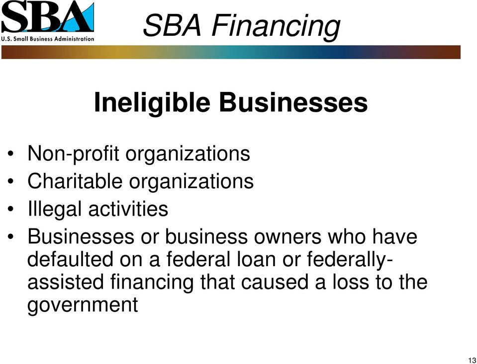 business owners who have defaulted on a federal loan or
