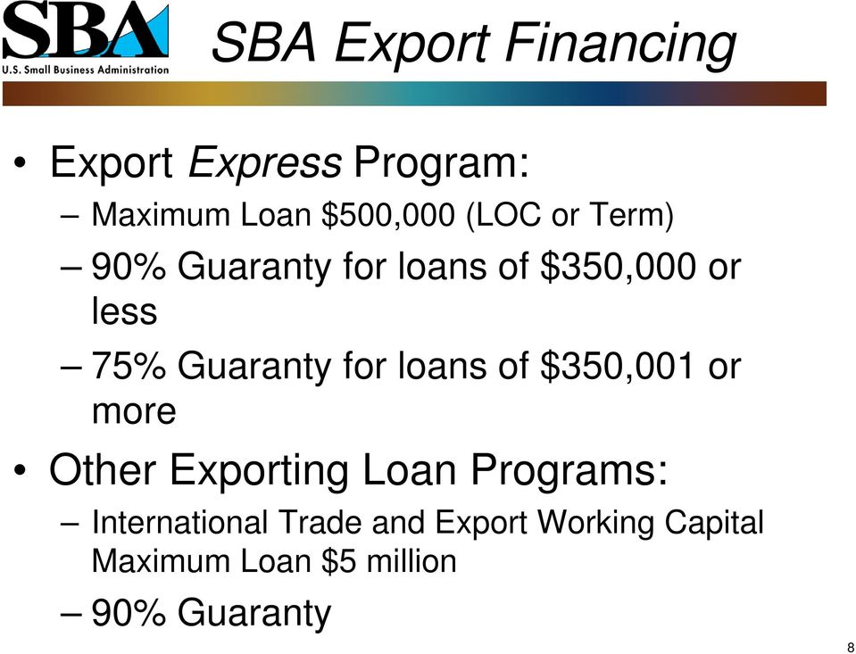 for loans of $350,001 or more Other Exporting Loan Programs: