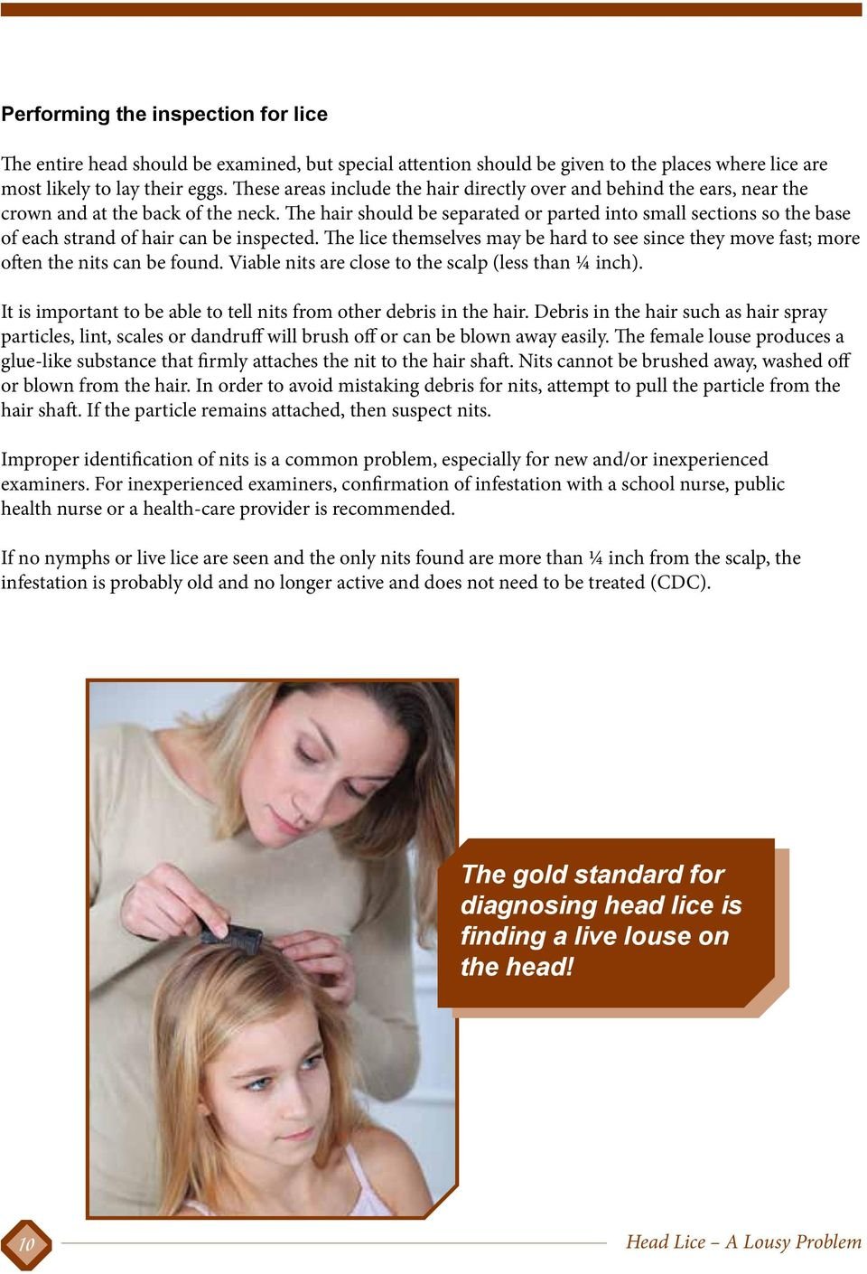 The hair should be separated or parted into small sections so the base of each strand of hair can be inspected.