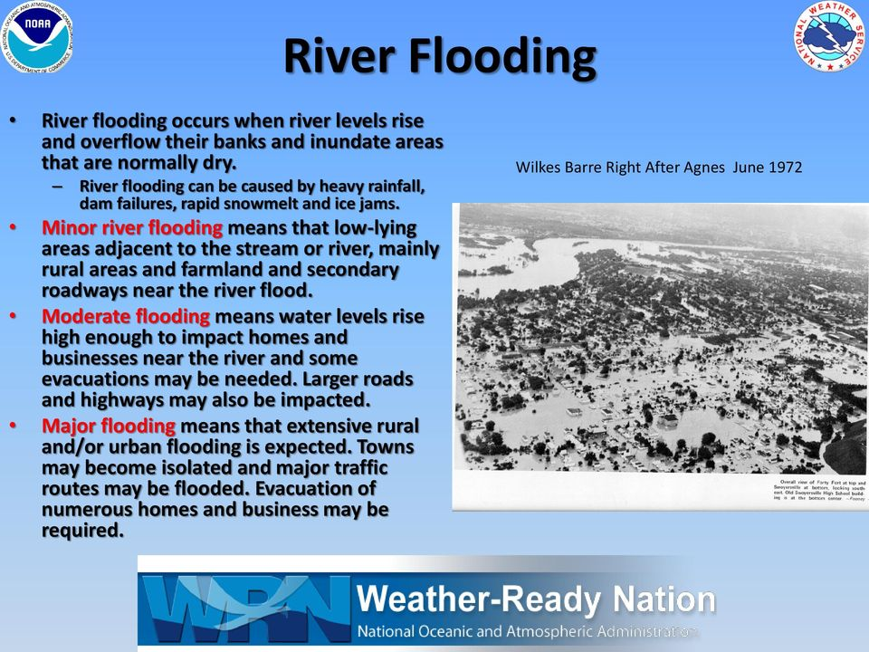Minor river flooding means that low-lying areas adjacent to the stream or river, mainly rural areas and farmland and secondary roadways near the river flood.