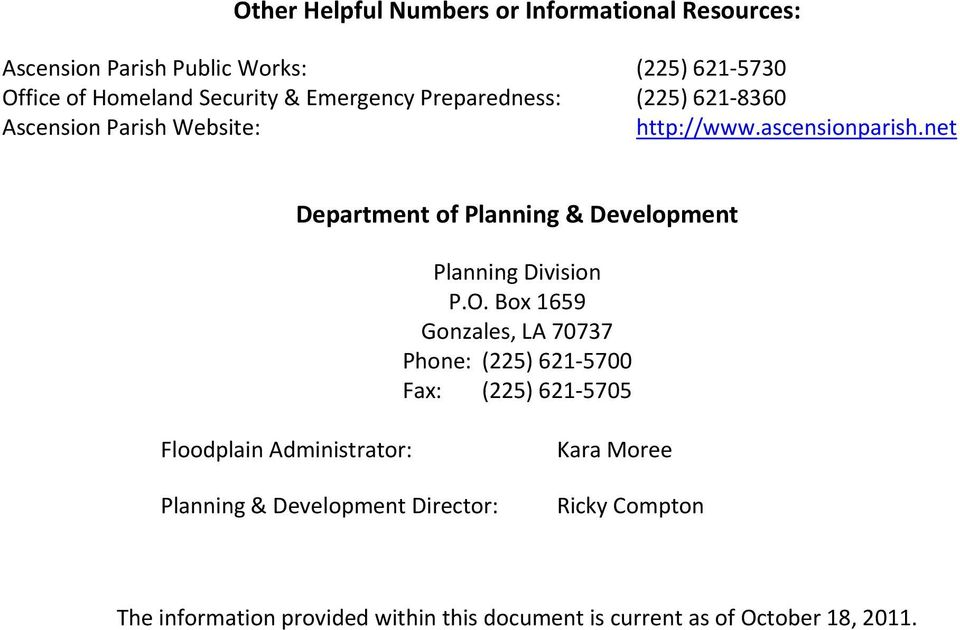 net Department of Planning & Development Planning Division P.O.