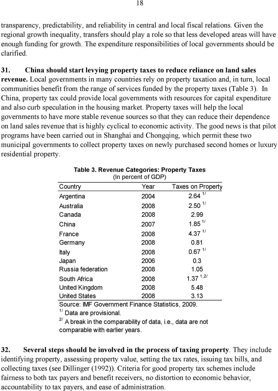 The expenditure responsibilities of local governments should be clarified. 31. China should start levying property taxes to reduce reliance on land sales revenue.