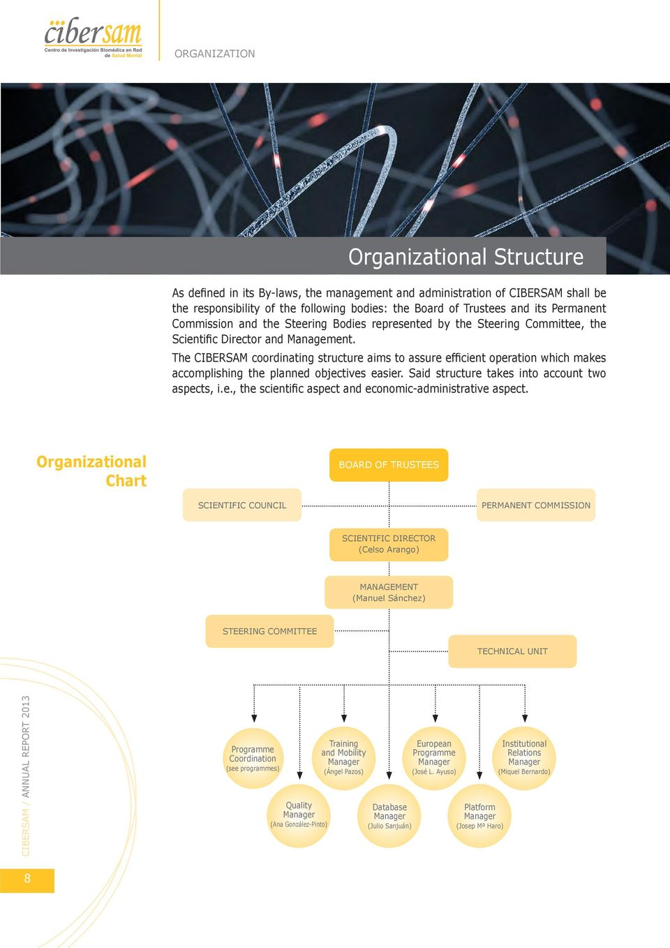 The CIBERSAM coordinating structure aims to assure efficient operation which makes accomplishing the planned objectives easier. Said structure takes into account two aspects, i.e., the scientific aspect and economic-administrative aspect.