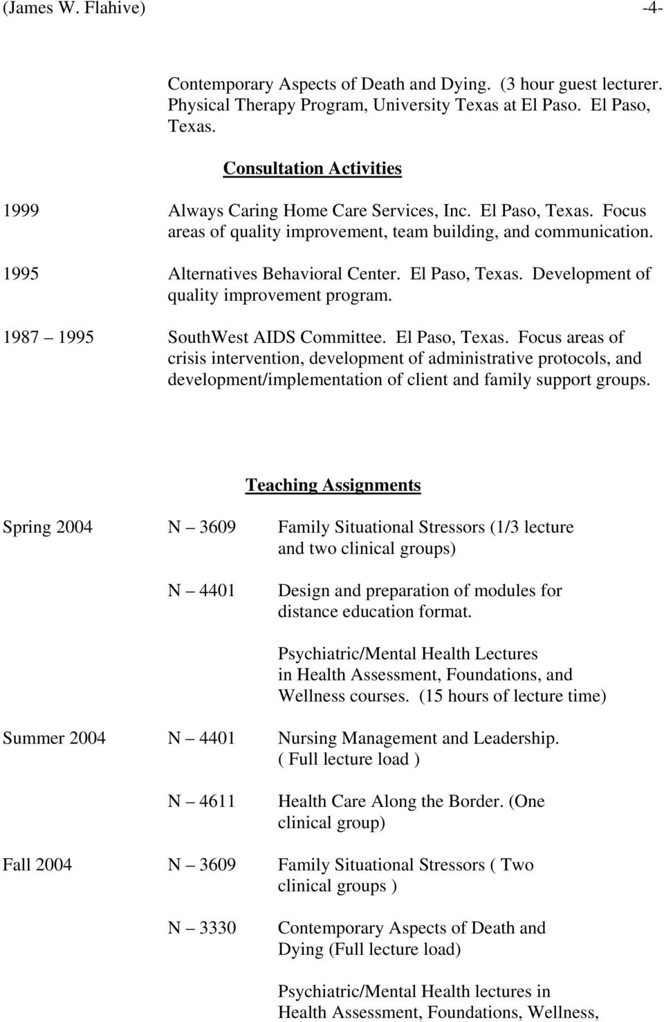 El Paso, Texas. Development of quality improvement program. 1987 1995 SouthWest AIDS Committee. El Paso, Texas.