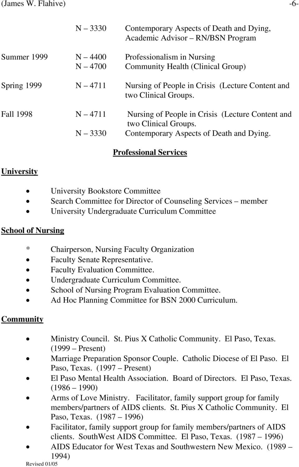 Nursing of People in Crisis (Lecture Content and two Clinical Groups. Fall 1998 N 4711 Nursing of People in Crisis (Lecture Content and two Clinical Groups.