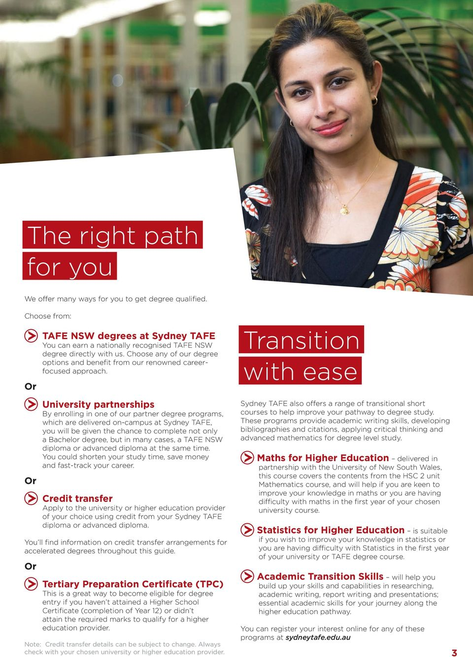 University partnerships By enrolling in one of our partner degree programs, which are delivered on-campus at Sydney TAFE, you will be given the chance to complete not only a Bachelor degree, but in