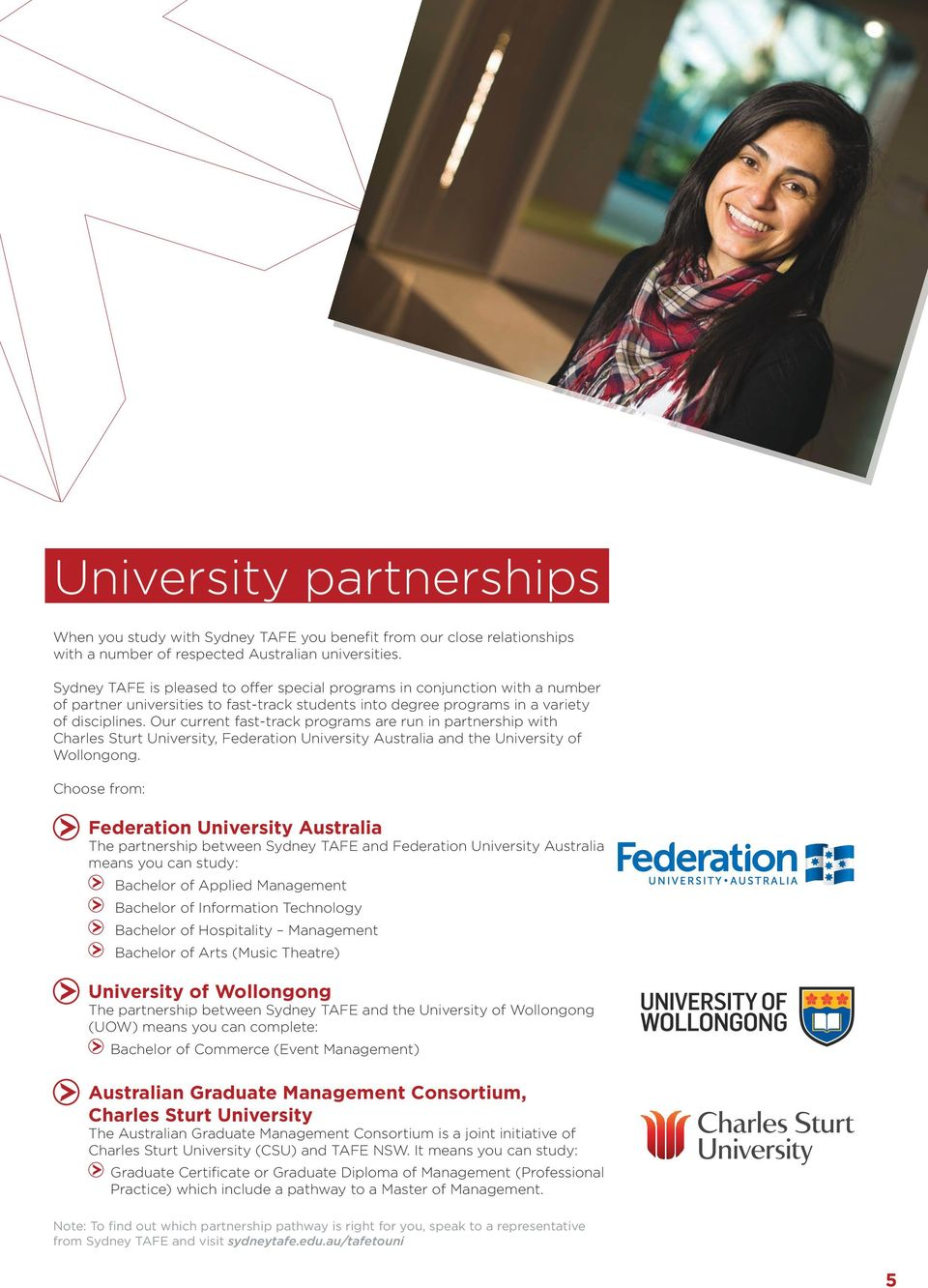 Our current fast-track programs are run in partnership with Charles Sturt University, Federation University Australia and the University of Wollongong.