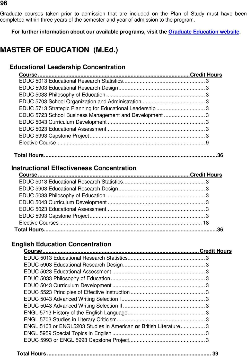 .. EDUC 5013 Educational Research Statistics... 3 EDUC 5903 Educational Research Design... 3 EDUC 5033 Philosophy of Education... 3 EDUC 5703 School Organization and Administration.