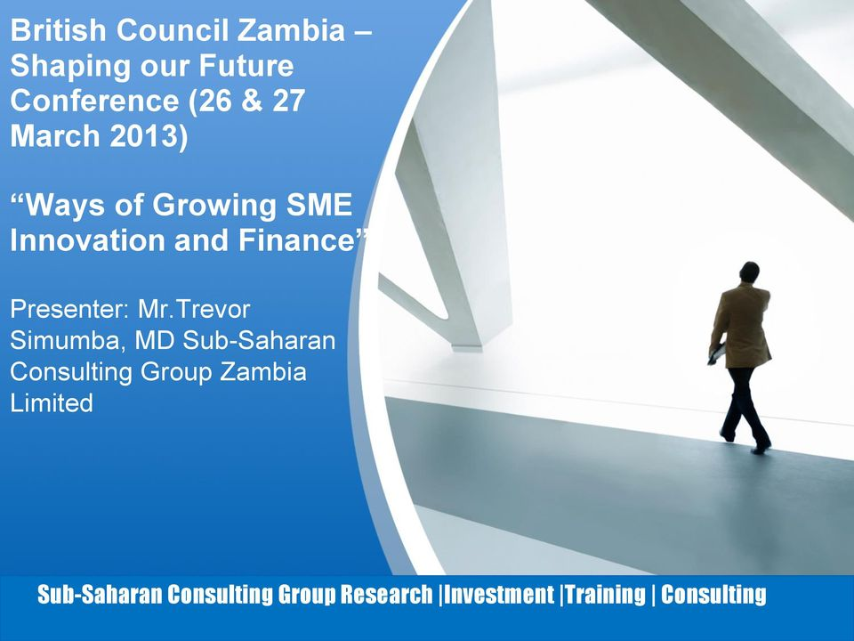 Trevor Simumba, MD Sub-Saharan Consulting Group Zambia Limited