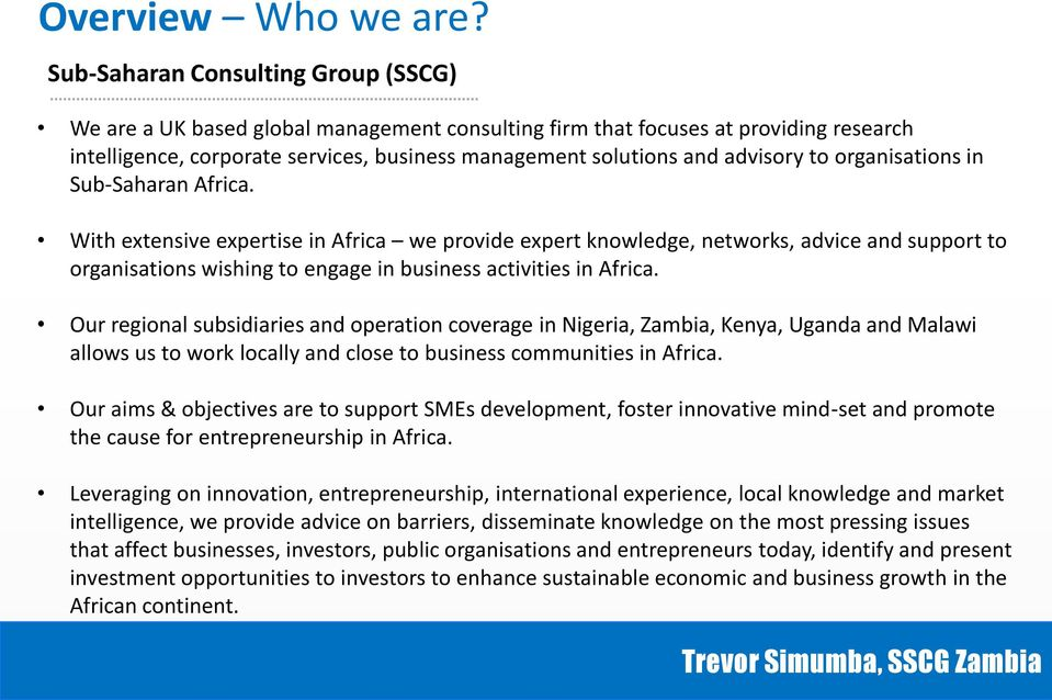 to organisations in Sub-Saharan Africa.