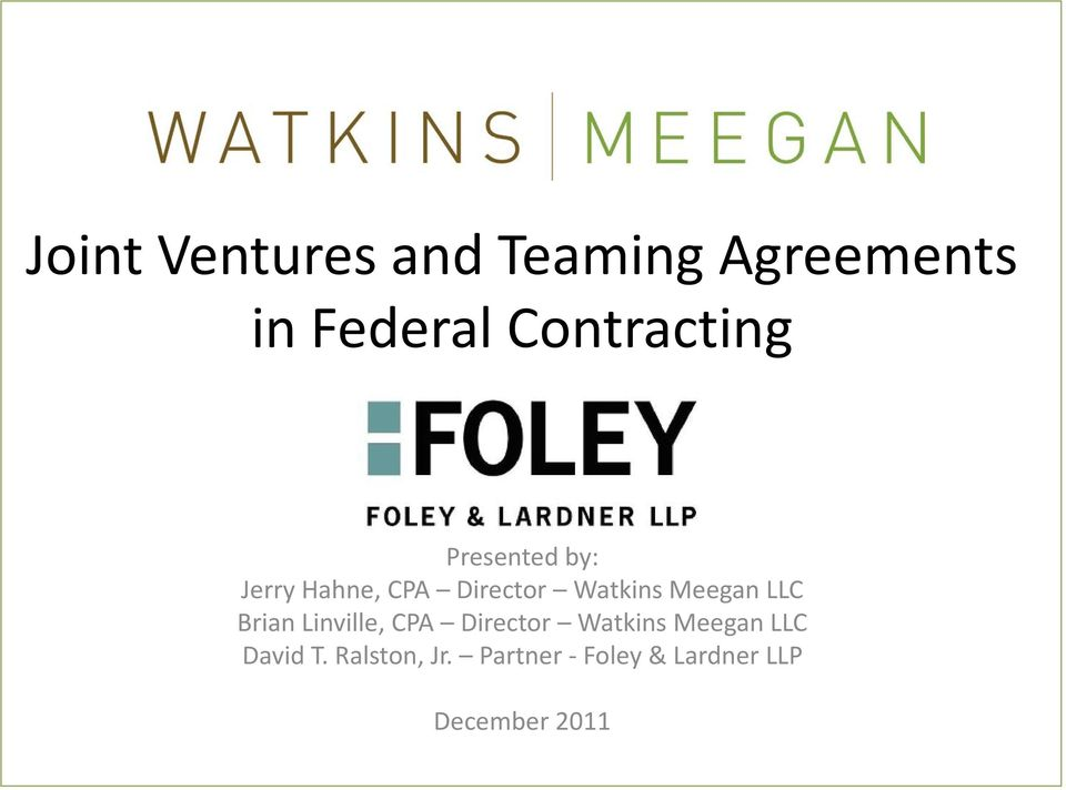 Joint Ventures And Teaming Agreements In Federal Contracting Pdf