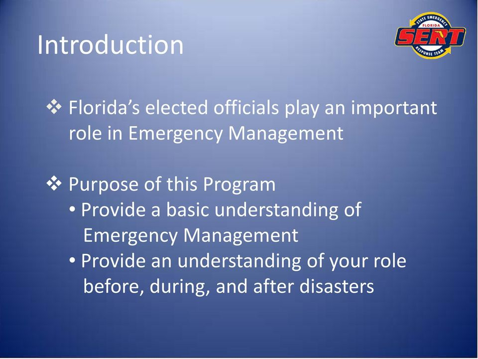 Provide a basic understanding of Emergency Management