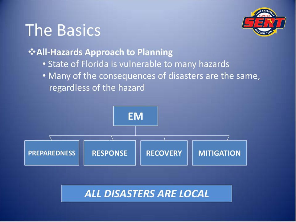 consequences of disasters are the same, regardless of the
