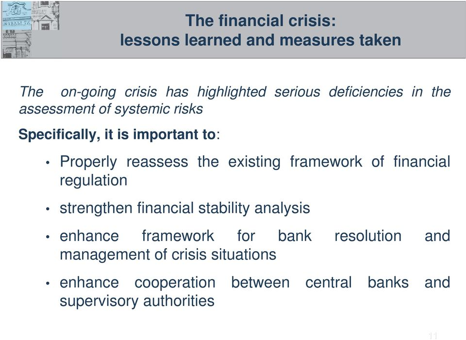 existing framework of financial regulation strengthen financial stability analysis enhance framework for