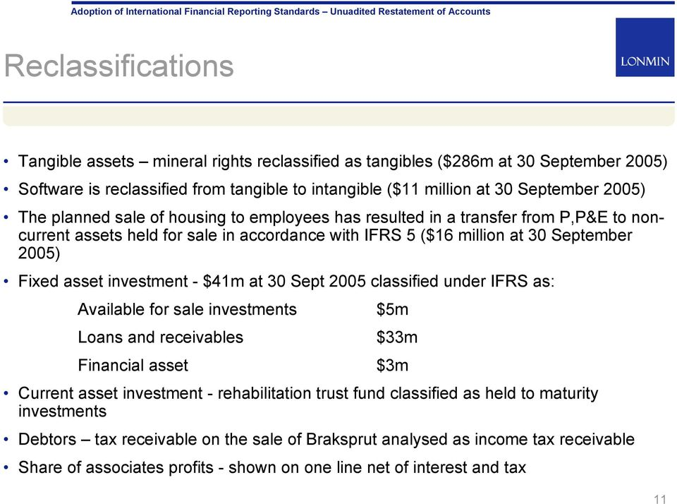 investment - $41m at 30 Sept 2005 classified under IFRS as: Available for sale investments $5m Loans and receivables $33m Financial asset $3m Current asset investment - rehabilitation trust