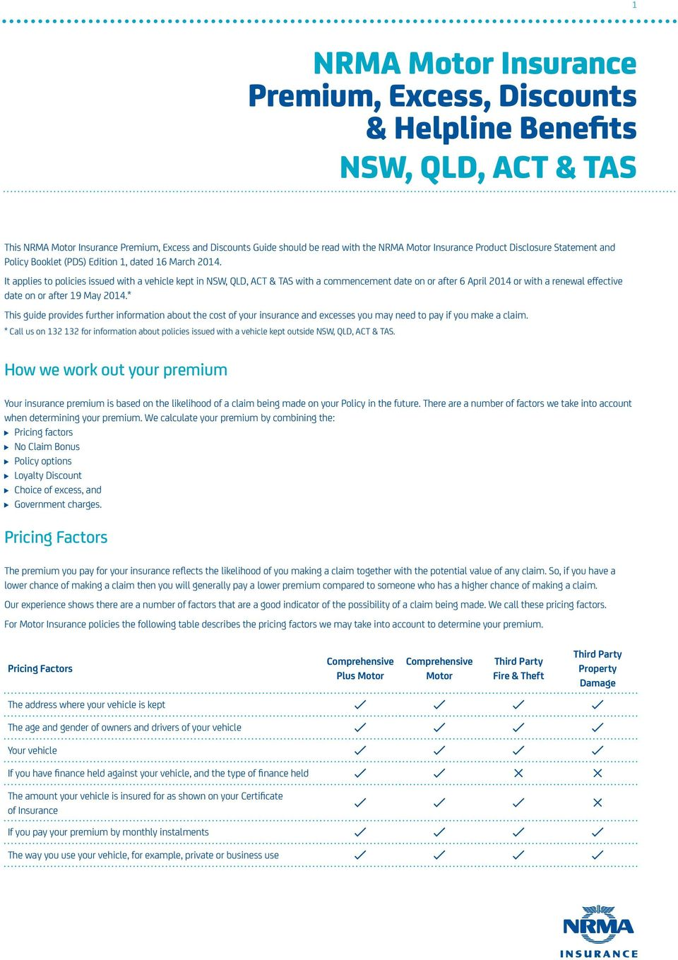 It applies to policies issued with a vehicle kept in NSW, QLD, ACT & TAS with a commencement date on or after 6 April 2014 or with a renewal effective date on or after 19 May 2014.