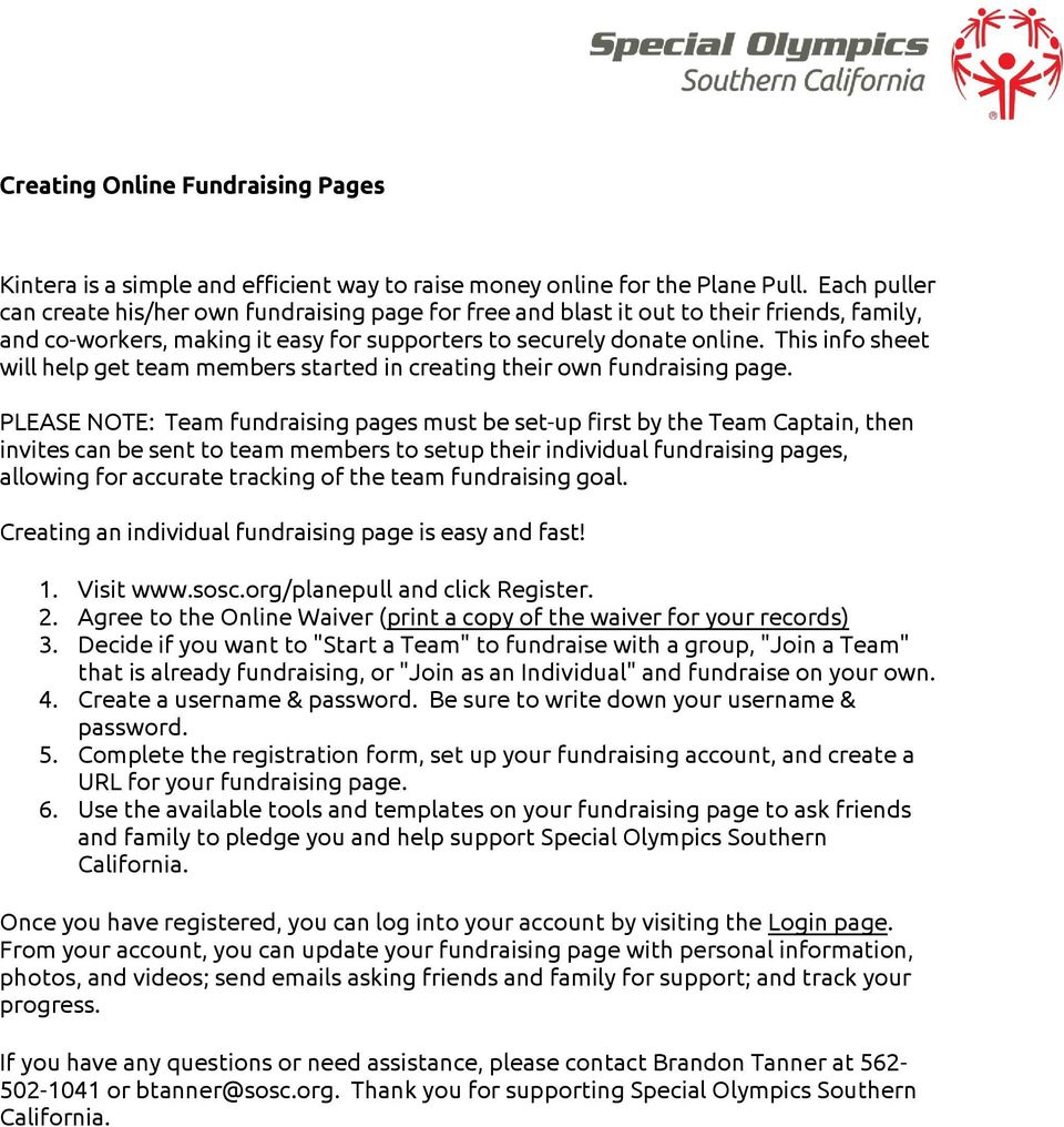This info sheet will help get team members started in creating their own fundraising page.