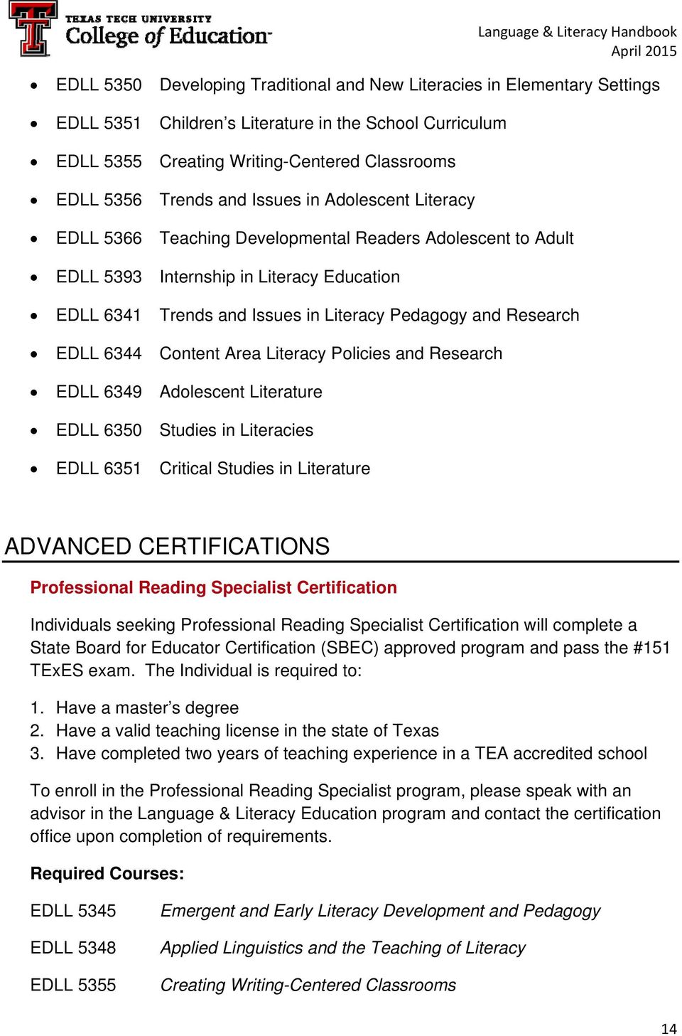 EDLL 6344 Content Area Literacy Policies and Research EDLL 6349 Adolescent Literature EDLL 6350 Studies in Literacies EDLL 6351 Critical Studies in Literature ADVANCED CERTIFICATIONS Professional