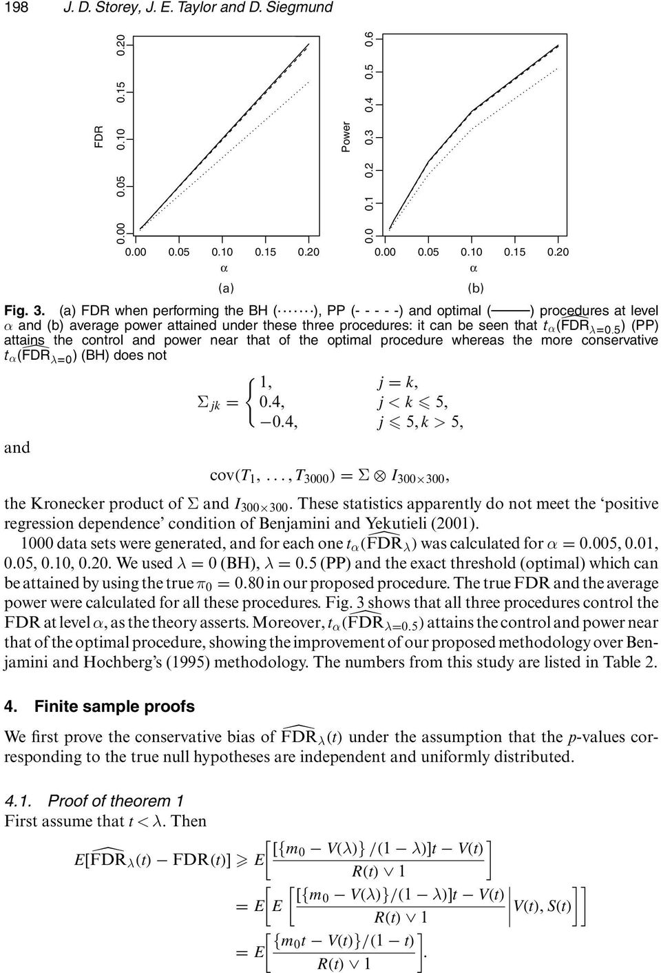 FDR λd0:5 / (PP) attains the control and power near that of the optimal procedure whereas the more conservative t α. FDR λd0 / (BH) does not { 1, j = k, Σ jk = 0:4, j<k 5, 0:4, j 5, k>5, and cov.