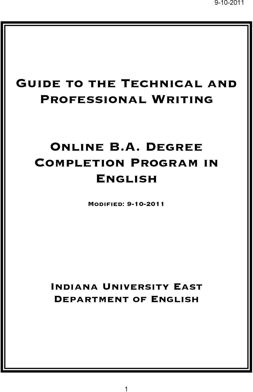Degree Completion Program in English